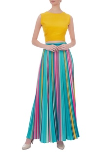 Yellow crepe silk oversized bow crop top