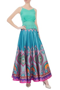Multicolored dupion silk maxi skirt