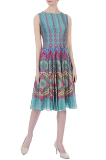 Mint green chanderi printed short dress