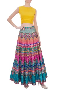 Multicolored striped sequin embellished maxi skirt