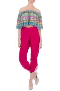 Pink crepe silk dhoti pants
