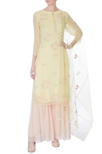 Yellow sequin & bead embroidered kurta with dupatta