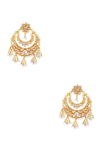 Gold micron finish earrings with faux pearls