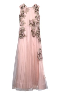Dusty pink viscose applique dress