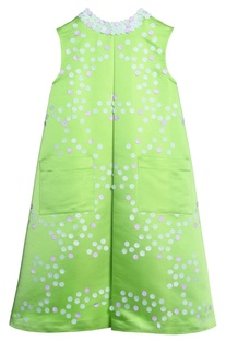 Green taffeta laser cut dress