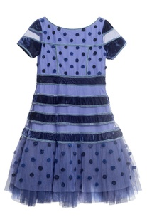 Blue crepe  embroidered dress
