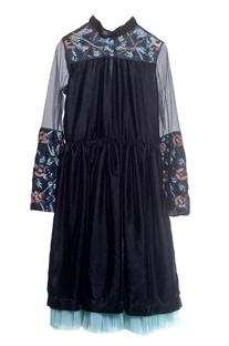 Black tulle & velvet embroidered dress