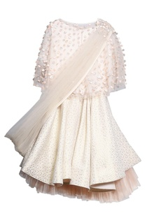 Off white tulle & jacquard laser cut lehenga set