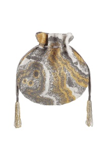 Silver potli with hand-finished tassels