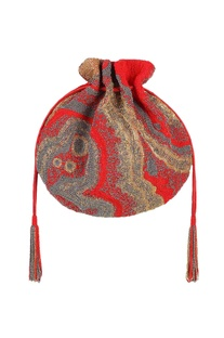 Red potli with japanese bead embellishments