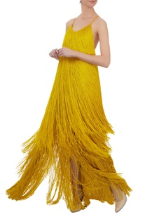 Mustard tassel 1920s slip gown