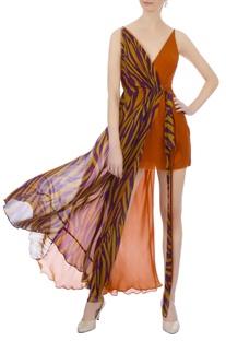 Rust orange dual patterned layered dress