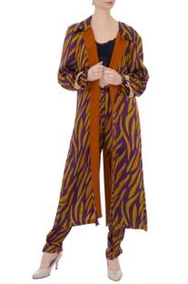 Mustard & purple zebra stripe cape jacket