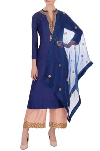 Navy blue & gold silk embroidered kurta with pants