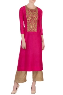 Hot pink & gold silk embroidered kurta with pants