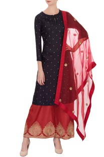 Navy blue & red embroidered kurta with pants