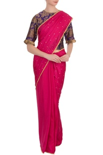 Purple & fuschia  silk brocade sari with blouse