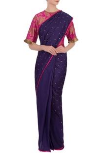 Hot pink & navy blue silk brocade sari with blouse