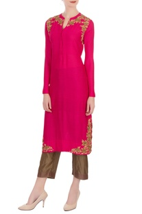 Hot pink & gold silk zardozi kurta with pants