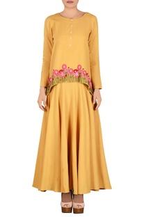 Yellow muslin khadi parsi work maxi dress