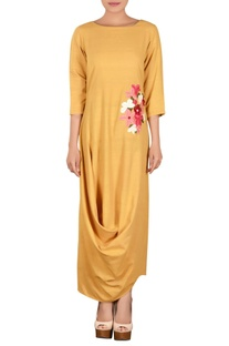 Pale yellow khadi parsi work dress