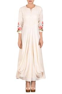Off white khadi parsi work dress