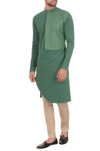Green moss georgette textured kurta