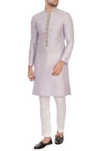 White spun silk embroidered kurta