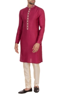 Maroon spun silk embroidered kurta