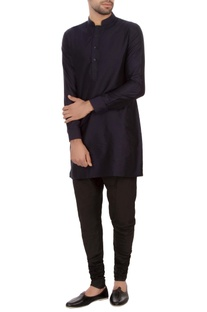 Navy blue spun silk solid kurta