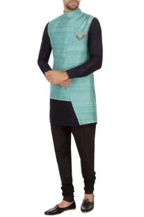 Turquoise raw silk high-low nehru jacket