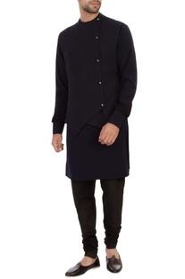 Navy blue moss georgette waistcoat kurta