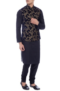 Dark blue velvet zari embroidered nehru jacket