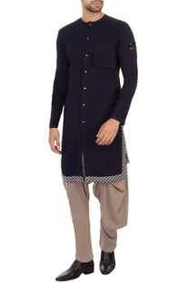 Blue organic cotton & bamboo fabric kurta
