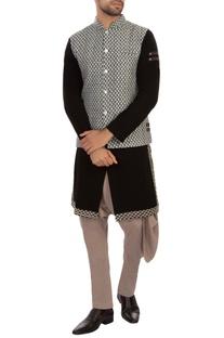 Blue & grey embroidered nehru jacket