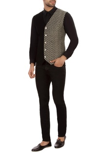 Black dual patterned organic cotton waistcoat