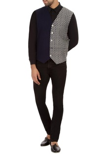 Navy blue dual patterned cotton waistcoat