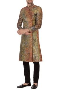 Pista green & rust bengal silk embroidered angrakha kurta set