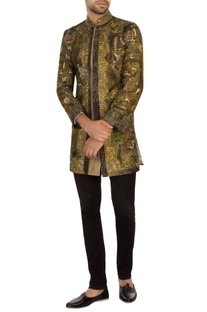 Moss Green & black garad silk embroidered bandhgala jacket set