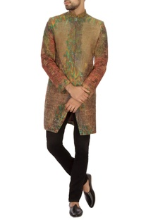 Green & rust khadi embroidered bandhgala jacket set