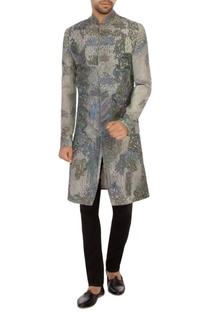 Grey khadi embroidered bandhgala sherwani set