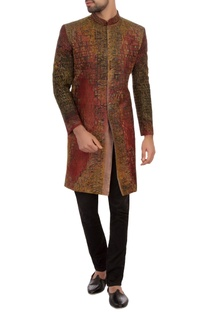 Maroon & black bengal silk embroidered sherwani set
