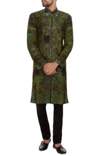 Green & black garad silk embroidered sherwani set