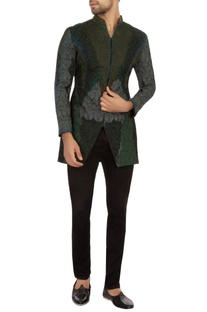 Forest green cotton embroidered bandhgala jacket set
