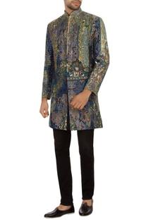 Blue & green brocade silk embroidered bandhgala jacket set