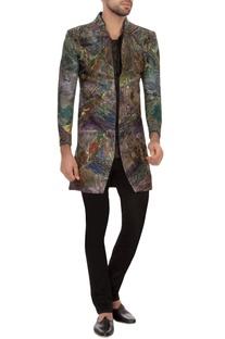Multi-colored garad silk embroidered short jacket kurta set