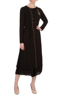 Black double georgette katdana embroidered tunic