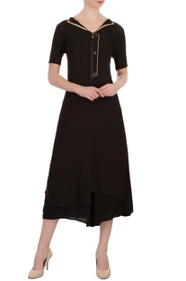 Black double georgette embellished tunic with pants