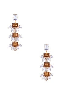 Rose gold polished & swarovski, epoxy crystal earrings