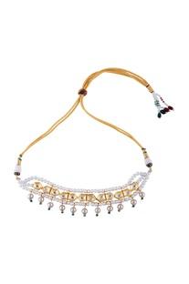 Multi-color gold polished swarovski pearls choker necklace